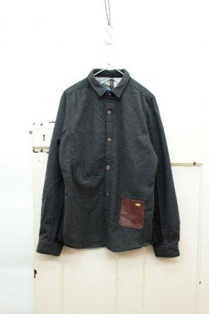 画像1: Clip.tab レザーPKシャツ 98;チャコール/ グレーCK  サイズ2 (1)