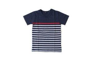 画像1: GLAZOS    ボーダー切り替え半袖Tシャツ DE.RED (1)